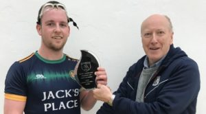 Salthill Men's C Champion:  Kevin O'Callaghan receives trophy from Pierce Lawlor, Salthill Handball Club.